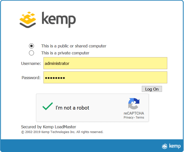 Kemp Technologies LoadMaster Google Authenticator Application