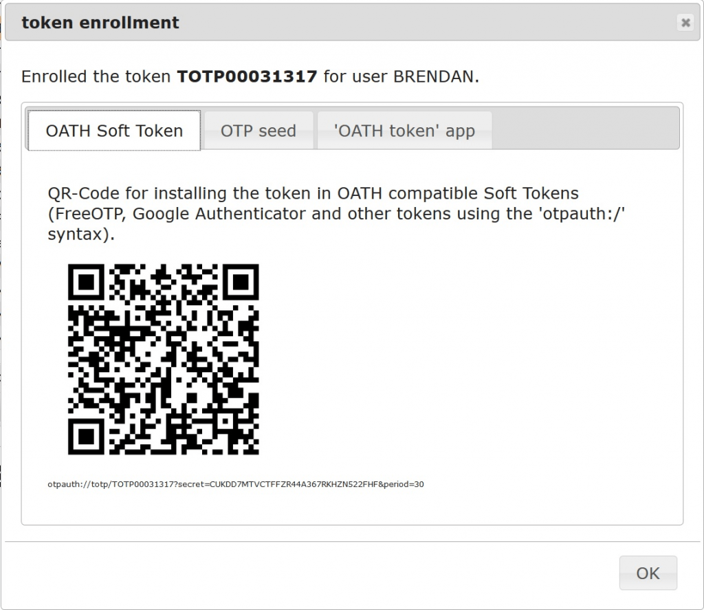 Token enrollment example of LinOTP also presented on Google Authenticator Application